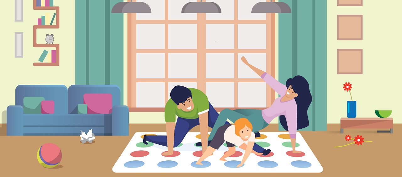 an illustration of a man, woman and child playing twister on the floor in their living room