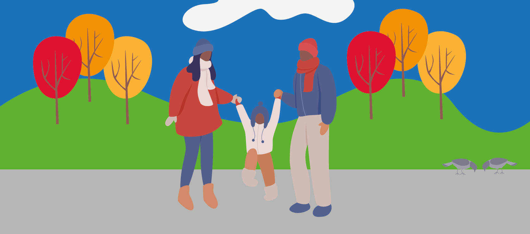 An illustration of a family walking outdoors in the winter