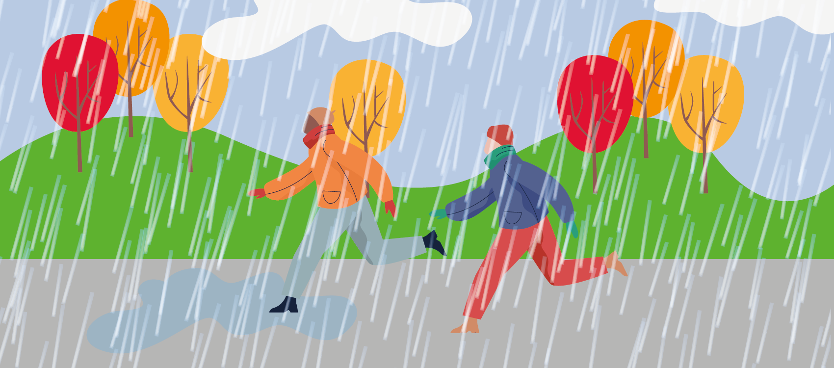 An illustration of two people running in the rain