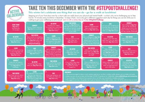 Step Out Challenge Calendar with a different challenge each day of December. This was tweeted out each day with the post explaining what the challenge is. Accessible version of the calendar available further in the blog.